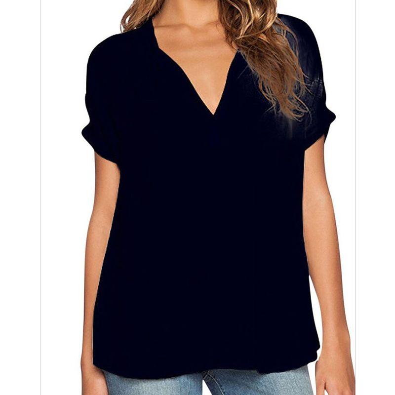 أزياء المرأة الخامس الرقبة قصيرة الأكمام الشيفون الصيف السيدات جديد قميص تي شيرت فضفاض الأعمال مثير كبيرة الحجم 4XL