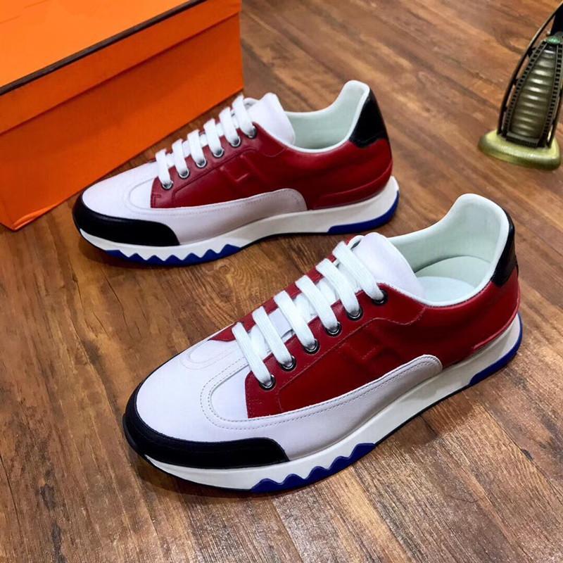 Hermes Shoes 2020 nuovo progettista di lusso Marca Ermete H Sneakers Top pelle bovina di moda degli Uomini comodi pattini Piani casuali scarpe alte RD