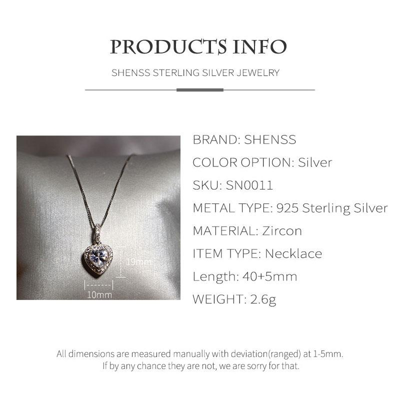 SHENSS Luxury 925 Sterling Silver Necklace For Women Elegant Quality Fashion Trendy Lovely Sweet Necklace SN0011