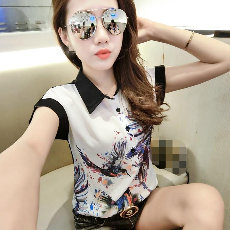 Summer Bird Imprimir pintada de la blusa de la ropa de moda de las mujeres suéter de la gasa de la camisa de manga corta Ropa Mujer Tops 2020 T04406