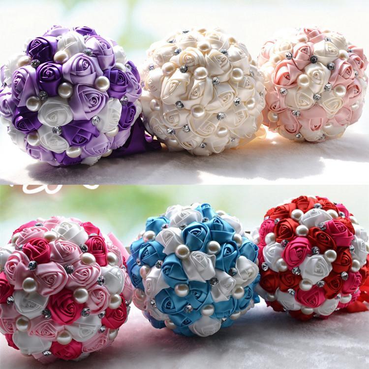 Bridal Wedding Bouquet Cheap Artificial Cream Fuchsia Blue Bridesmaid Flower Crystal Pearl Silk Rose Wedding Decoration In Stock
