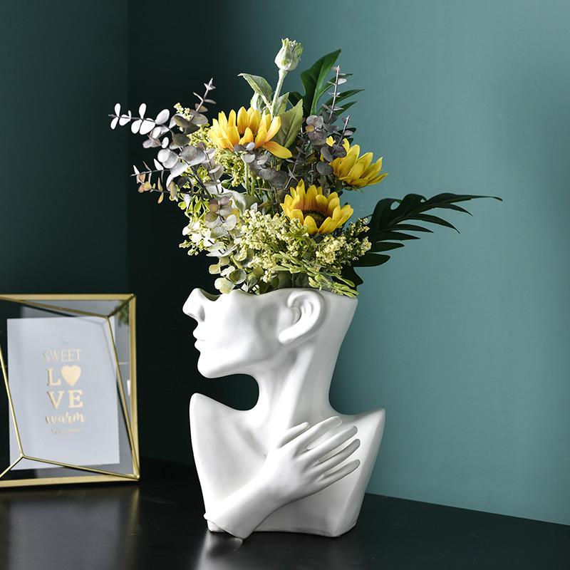 إبداع نورديكي نصف طول زهرة وعاء الأزهار السيراميكية الحديثة الزينة المنزلية الزخرفة