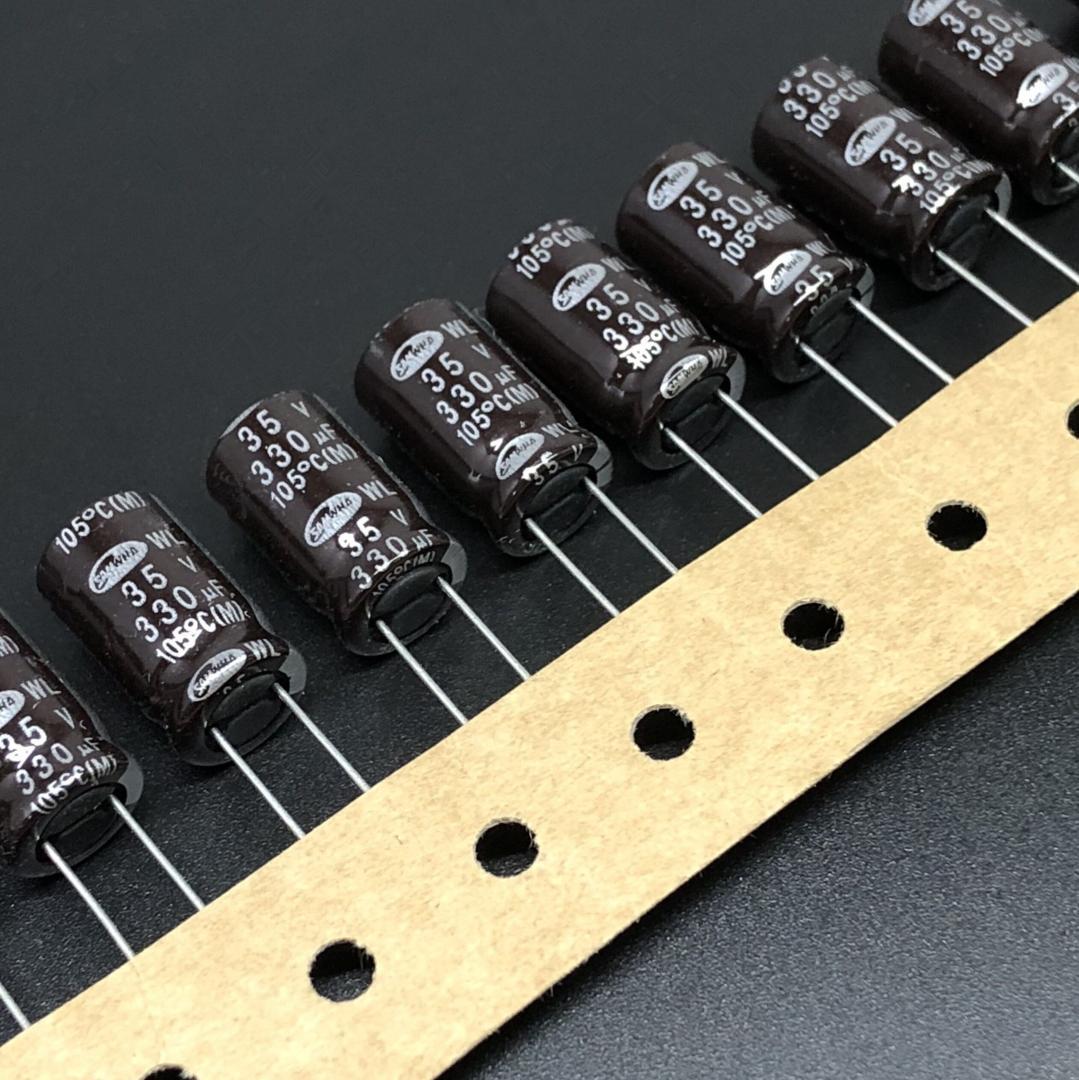 10 قطع / 100 قطع 330 فائق التوهج 35 فولت samwha wl سلسلة مقاومة منخفضة للغاية 10x16 ملليمتر 35V330uF الألومنيوم كهربائيا مكثف