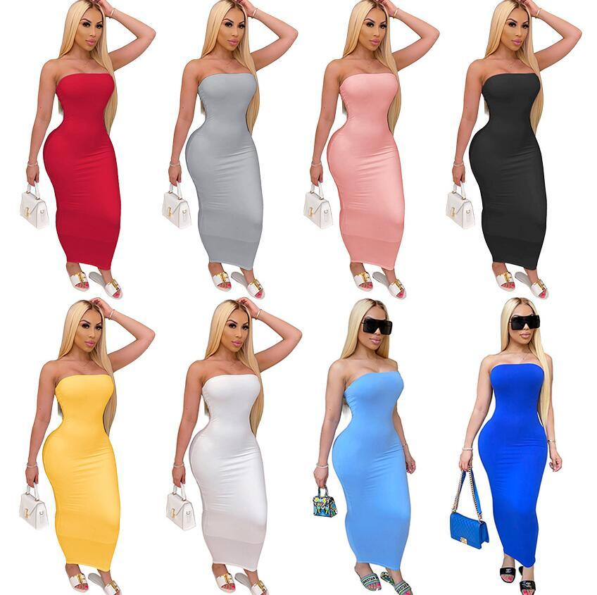 2020 Avrupa ve Amerika Birleşik Devletleri yeni patlama modelleri moda sıkı tüp üst yüksek streç elbise