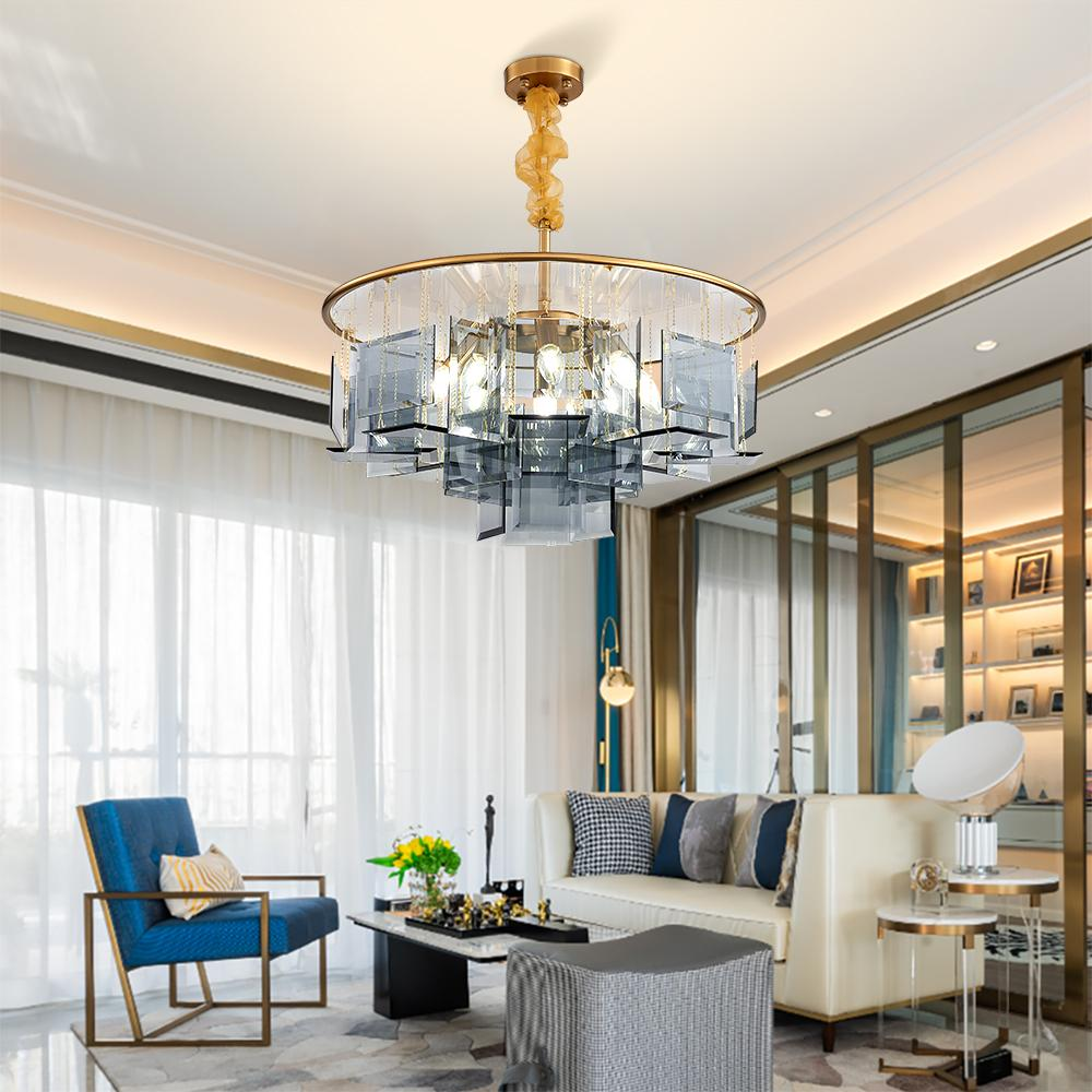Luxury Chandelier Lighting For Living Room Bedroom Modern Dining Room LED  Blue Glass Hang Lamps Round Gold Light Fixtures Contemporary Chandelier ...