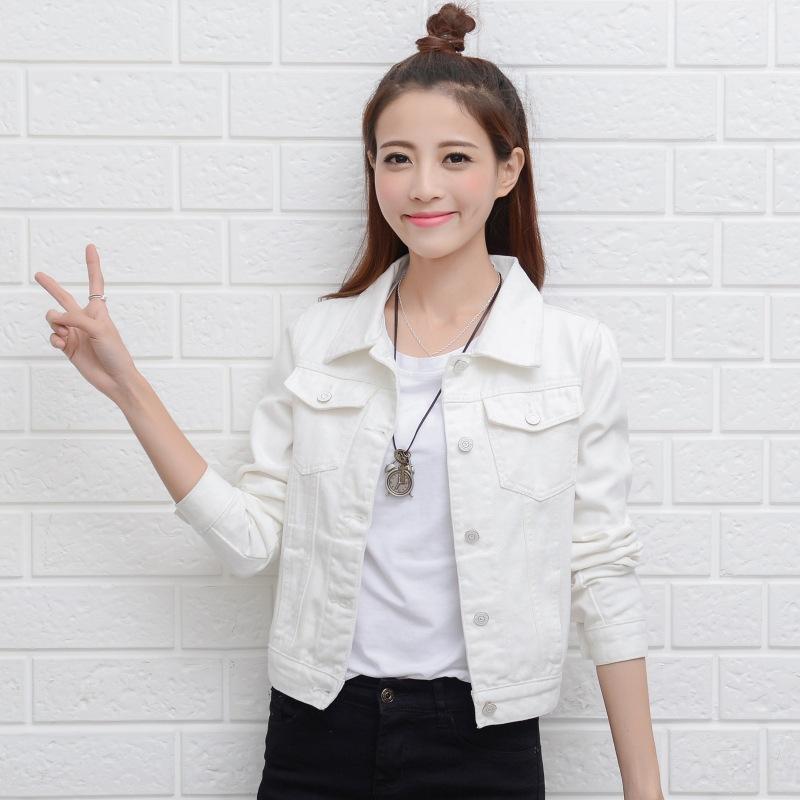 Mulheres jaquetas de grife nova primavera outono estudante denim jaqueta branca cor preta jaqueta jeans feminina Magro jaqueta de manga longa