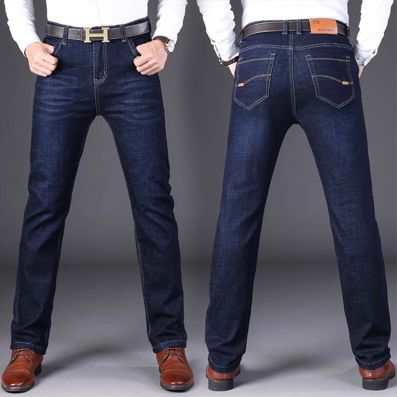 Slim fit denim dei jeans dei pantaloni dei pantaloni del motociclista maschio Uomini elastico casuale molle del progettista Jean affari diritta blu nero di alta qualità