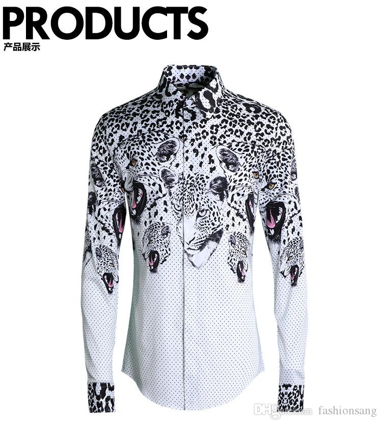 Hot sale! New spring mens full sleeve Leopard print And dot shirts for men's clothing plus size M-4XL man Slim fit shirt