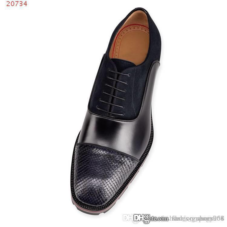 High-end business dress lace-up shoes for men Italian imported cowhide Mosaic snake skin Gentleman's leather shoes