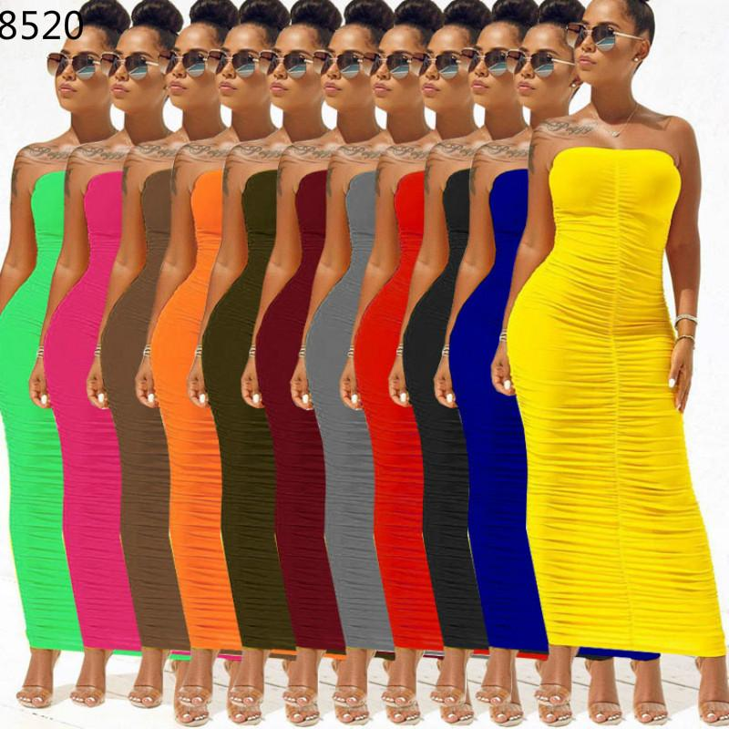 Big Size Women Dress Casual Wild Long Pleated High Elastic Feeling Slim Tube Dress Solid Color Package Hip Maxi Dress Vestidos