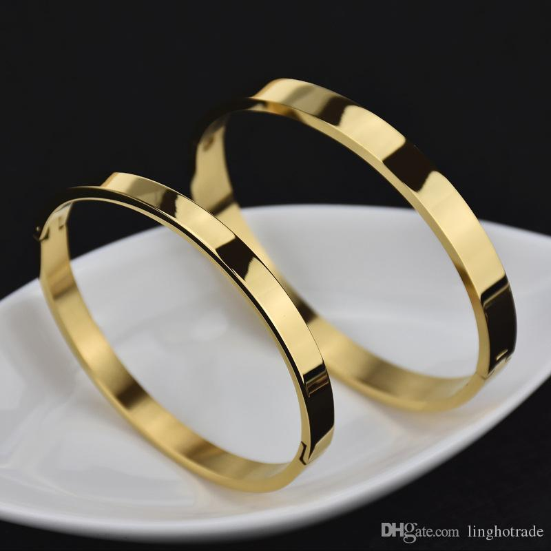 سوار الإسورة التيتانيوم الصلب المقاوم للصدأ الفضة روز الذهب امرأة رجل الإسورة سوار النساء الرجال المسمار سوار زوجين المجوهرات