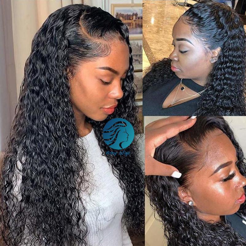 Gluleless ağartılmış Knots Tam Dantel Kıvırcık Peruk PrePlucked Satine Dantel Ön İnsan Saç Peruk Remy Brezilyalı Uzun Derin Frontal İçin Siyah Kadınlar