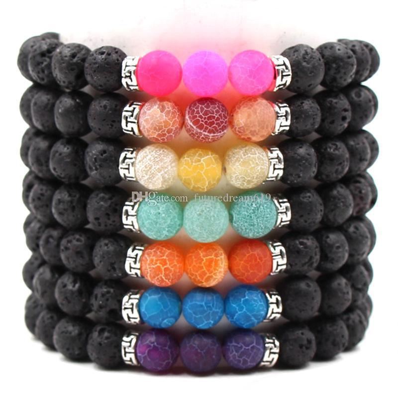 Il nuovo arrivo 7 colori Chakra Uomini Lava Rock 8mm vulcanica nera guarigione naturale della pietra di energia Yoga braccialetto per le donne monili d