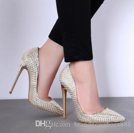 Heißer Verkauf Frauen Gold Silber Spitz Flach Pumps Sommer Beleg Auf Hohe Dünne Ferse Bling Bling Kleid Schuhe Braut 10 cm Heels