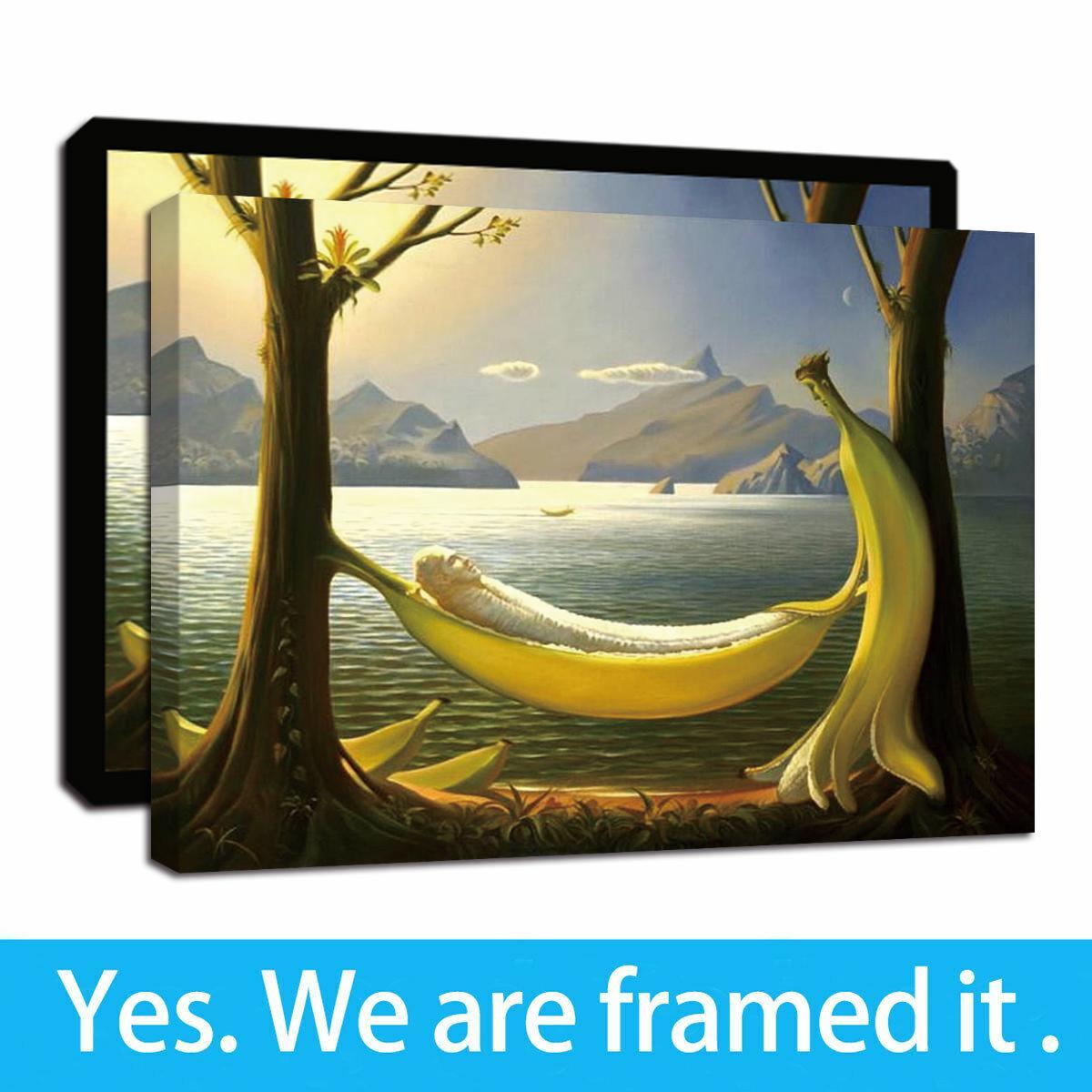 Pareja de plátano enmarcada pintura al óleo del arte Lámina Arte pared de la lona impresiones del cartel de la pintura de la decoración listo para colgar