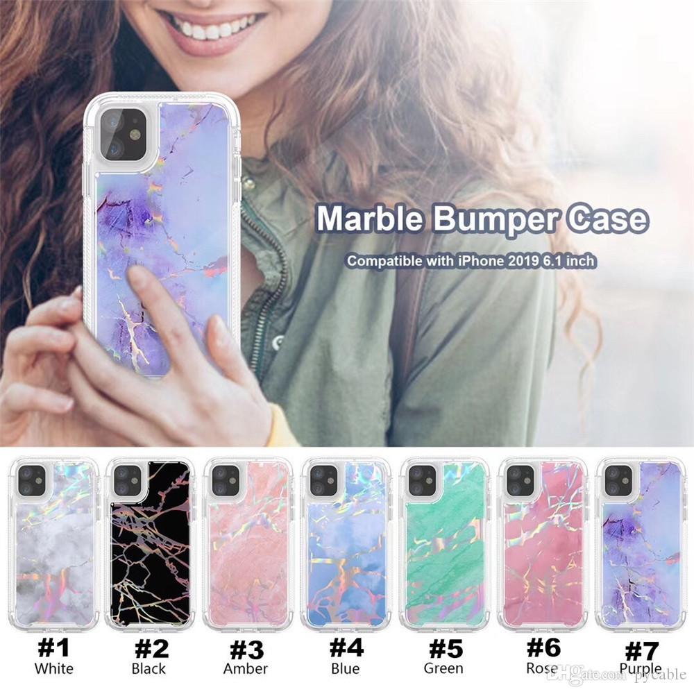 2 en la caja de mármol de teléfono para Iphone 11 PRO MAX XR X 6 7 8 PLUS Samsung Galaxy Note 9 S9 S9 Plus Brillante Robot TPU cubierta de la PC 1 Laser