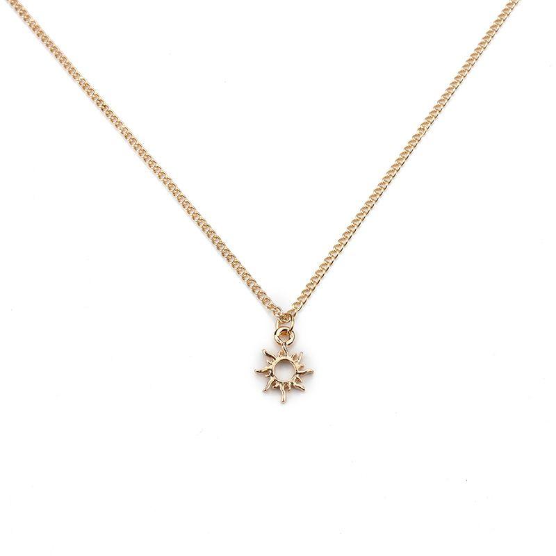 1pc colore argento charms sole d'oro della moda collana pendente clavicola Catene Normativa collana delle donne come regalo collana con la carta
