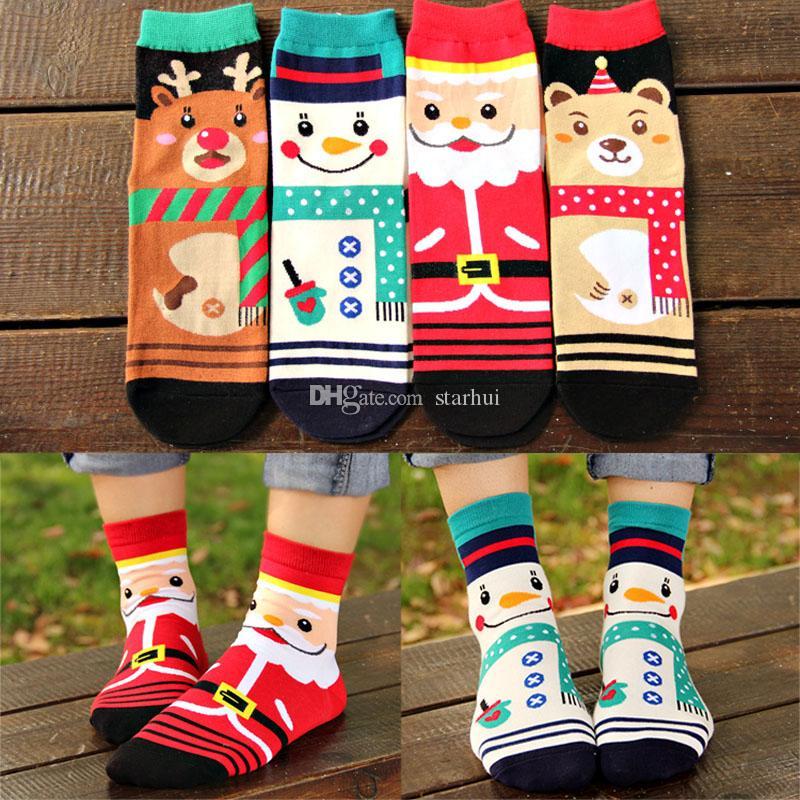 Algodão meias de inverno mulher natal meias papai noel veados boneco de neve urso 3d impressão meias presente decorações de natal wx9-1149
