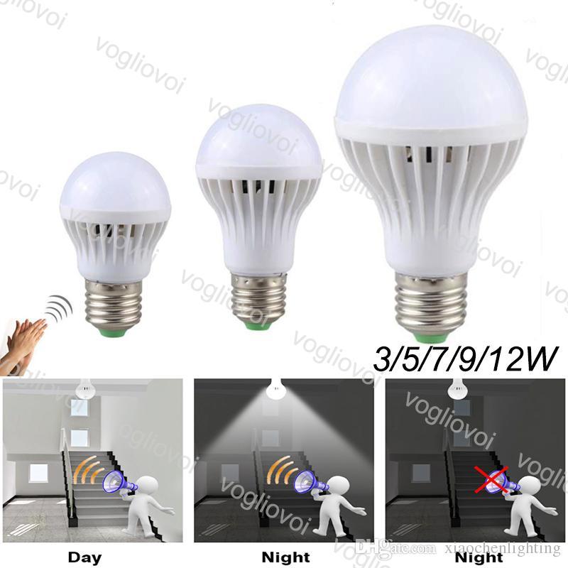 Lampadine a LED Auto Sound Sensor AC175-245V 3W 5W 7W 9W PC E27 6500K SMD2835 High Luminosità per camera da letto vivente Sala studio cucina EUB