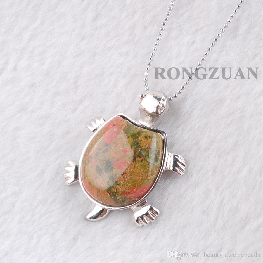 "Women GirlsJewelry Gifts Dangle Pendant Necklace Natural Unakite Jasper gemstone Tortoise Shape Pendants Bead Chakra Chain 18"" DN3732"