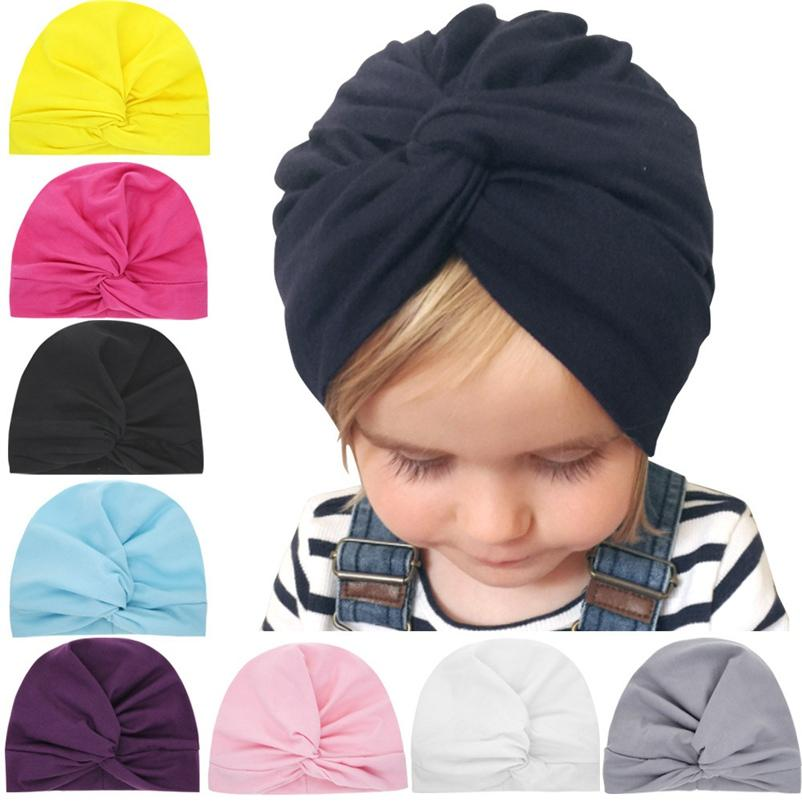 Newborn Hat Infant Baby Turban Toddler Kids Boy Girl Cotton Blends Hats Lovely Soft Cute Solid Knot Beanies Cap MZ020