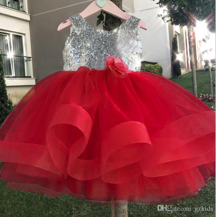 Girls Dress Sequins Ruffle Trim Layered Tulle Pageant Party Flower Girl Dress 4 colors free shipping