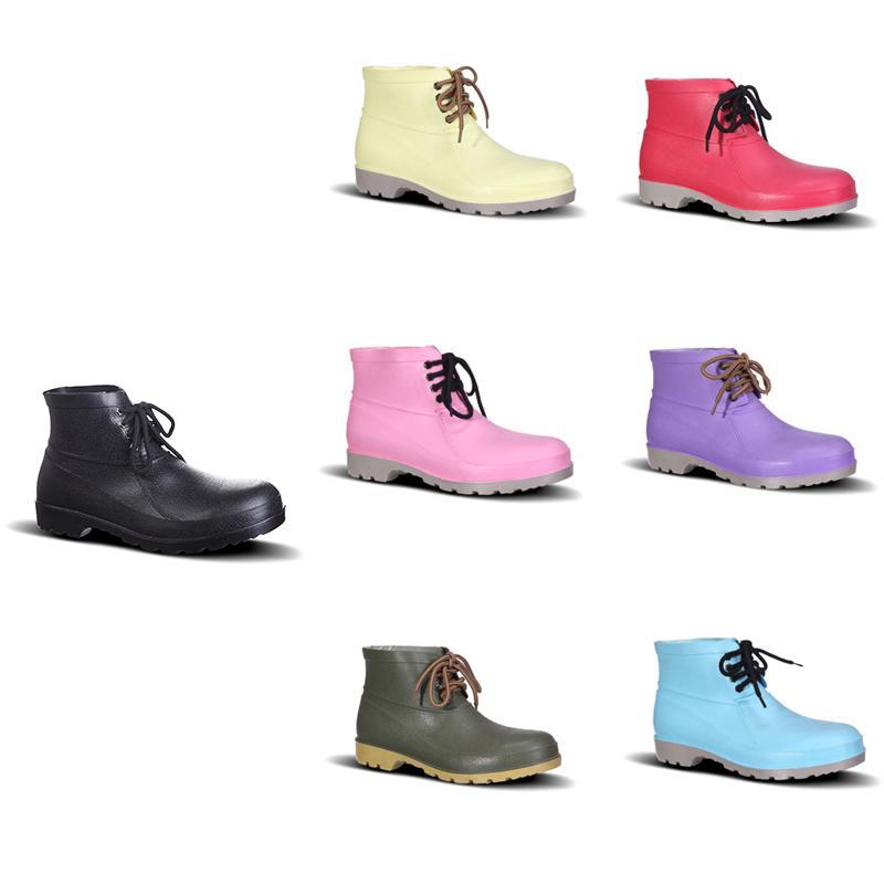 Progettazione Rain Boots assicurazione manodopera a basso Nuovo No-Brand Shoes Acciaio Toe Cap Nero Rosa Giallo Rosso Viola Verde scuro Men 38-44