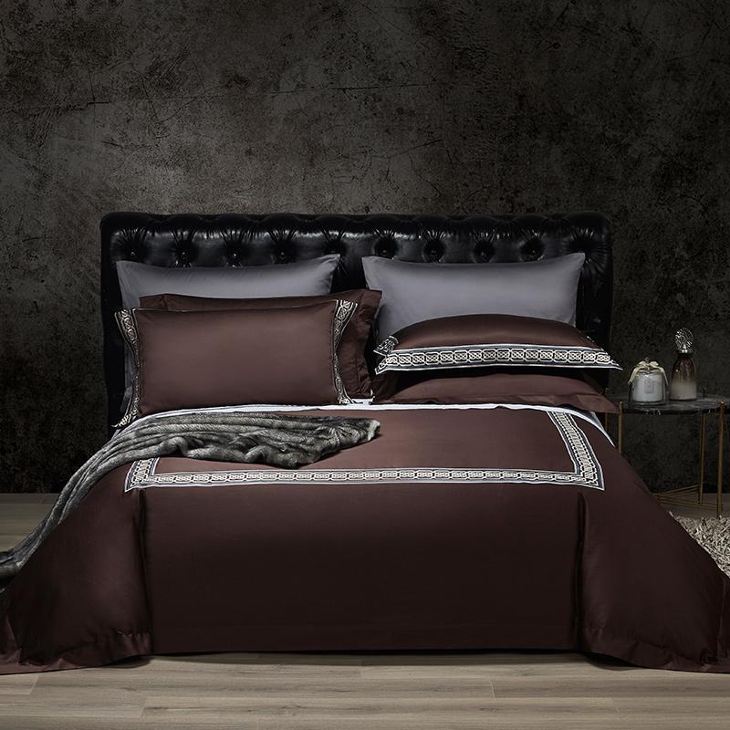 4 Stück Bettwäsche-Set aus ägyptischer Baumwolle Bettwäsche Sets Dunkelbraun, Grau, Lila Bettwäsche gestickte Steppdecken Bettwäsche