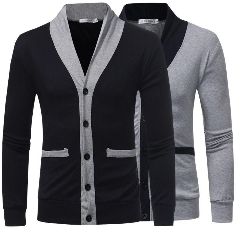 homens recrutar Casual Trui Jas Homens Casual Patchwork Slim Fit V-neck Usado Trui SweaterCoat M-2XL