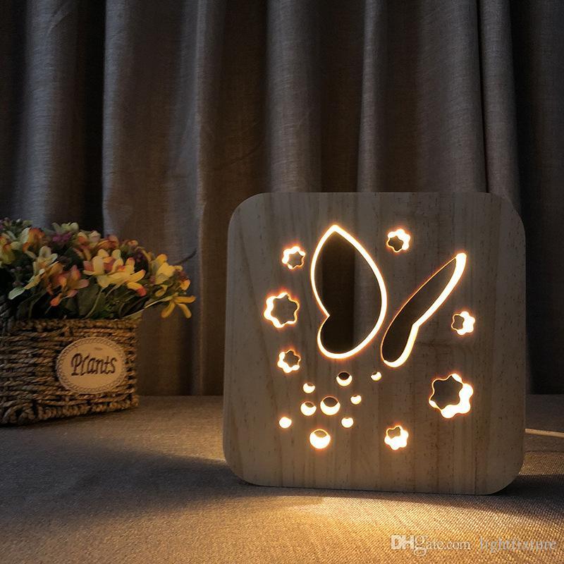 Yaratıcı Kelebek Masa Lambası Hollowed-Out LED Gece Işık Sıcak Beyaz Katı Ahşap Oyma Kelebek Gece Lambası
