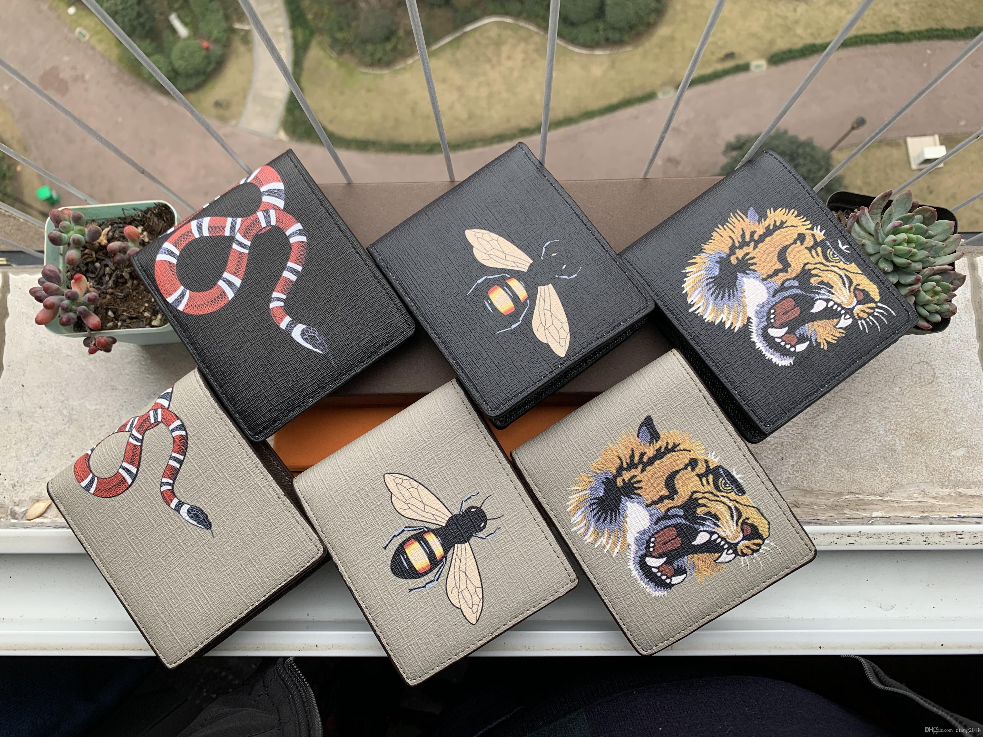 ارتفاع نوعية الرجال حيوان قصير محفظة جلدية سوداء ثعبان النمر النحل محافظ المرأة المحفظة نمط طويل حاملي بطاقة المحفظة مع علبة هدية بطاقات