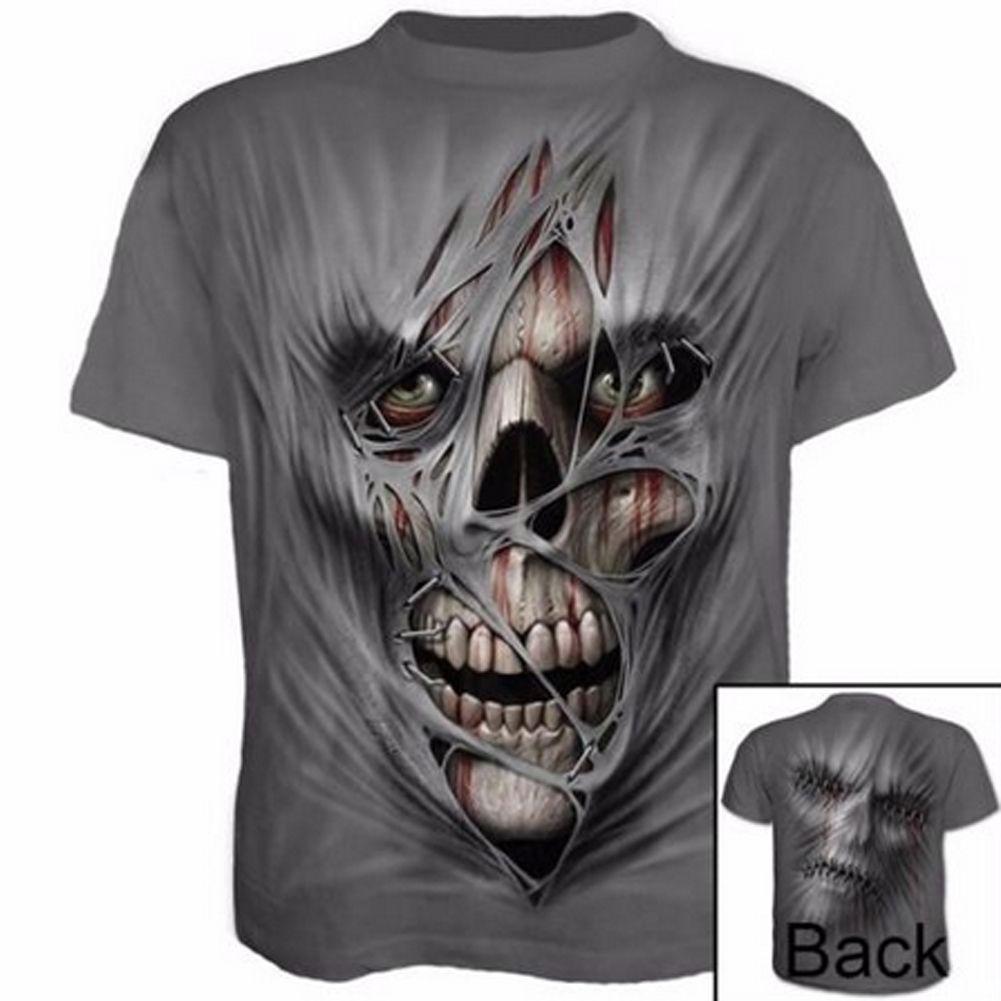 Hommes d'été Gym en plein air T-shirt rapide Tops Fitness Course à sec Mode 3D imprimé T-shirt décontracté à manches courtes T-shirt Crâne