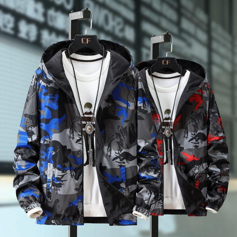 2.020 Tamaño Spring Fashion Plus 6XL 7XL Zip Up Hombres chaqueta Marca Slim Fit abrigos Hombre camuflaje Casual chaqueta de bombardero Abrigo