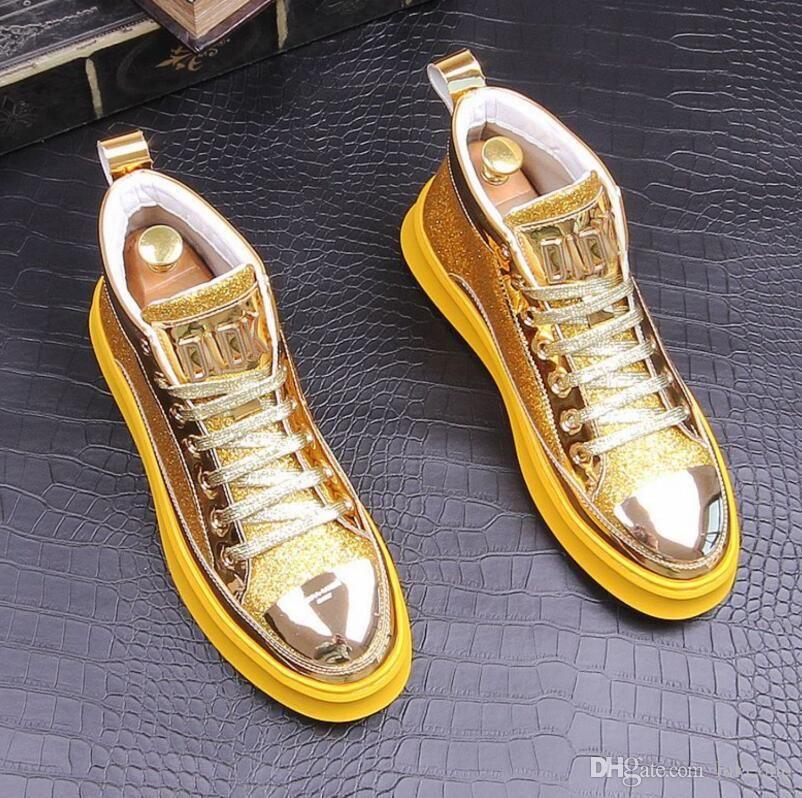 zapatos de los hombres ocasionales de la manera Calzado de diseño Mujeres zapatilla de deporte de alta superior de cuero zapatos de los planos de diseño en las zapatillas de deporte de los hombres del partido