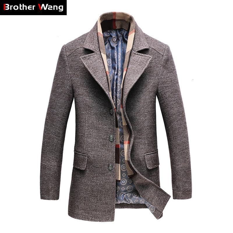 2019 degli uomini di inverno casuale di lana del cappotto di trincea Fashion Business lungo addensare Slim cappotto giacca maschile Peacoat marca di vestiti 1717MX190905