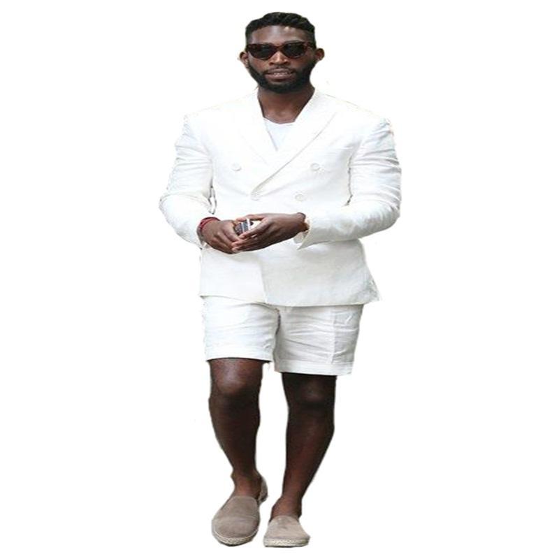 Blanc 2 pièces coton d'été Casual Suits (Blazer + Pantalon court) entaillé Costume Lapel double boutonnage de Suit Men