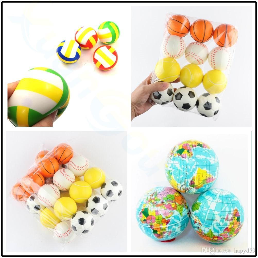 Peluche Squishy volley-ball de football populaire enfants sport Stress Relief antistress Décor Planisphère mousse Terre jouets balle