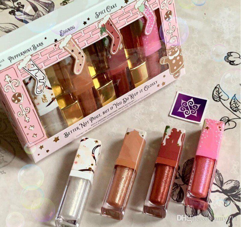 4 colori Trucco Lip Set Better Not Pout ma se non tenerlo lucido Ricco e Dazzling Natale Treats Gloss Set 4 pezzi di un set di liquido Rossetto