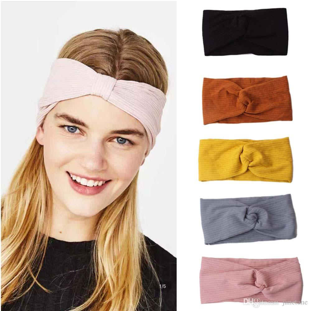 2020 knitted hair band Europe and the United States new fashion trend cross knotted headdress wash face headband elastic wide-brimmed hair b