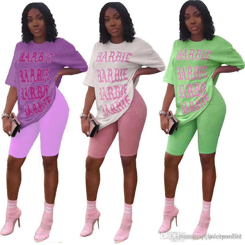 Yaz Kadın İki Parça Setler Moda Sıcak Stil Baskılı Gevşek Casual Kısa Kollu T Shirt Suit Kadınlar Eşofmanlar