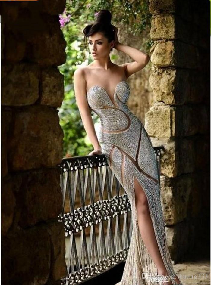 2019 Bling Rami Salamoun Split Evening Dresses Illusion Neck Sheer Major Beading Crystal Sheath Sheer Skirt Celebrity Party Prom Gowns 961
