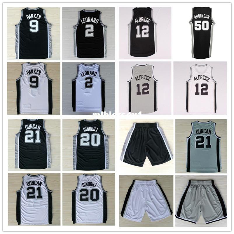 TD #21 kl #2 Lamarcus Aldridge #12 Tony Parker #9 Manu Ginobili #20 David Robinson #50 Basketball Jersey Ncaa College