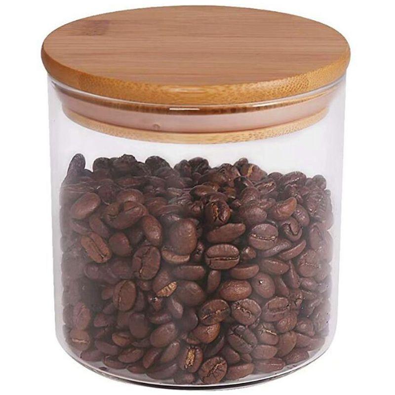 Pot de stockage (550 ML), pot en verre de rangement avec couvercle hermétique Seal Bamboo - Design moderne Canister clair pour