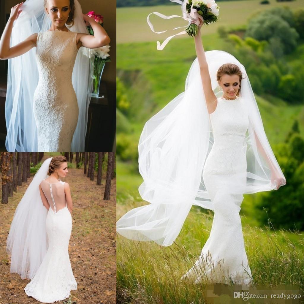Vestidos de novia de encaje de sirena llenos del país 2019 Sheer Back Jewel Neck Sweep Train Vintage Bohemian Garden vestido de boda nupcial