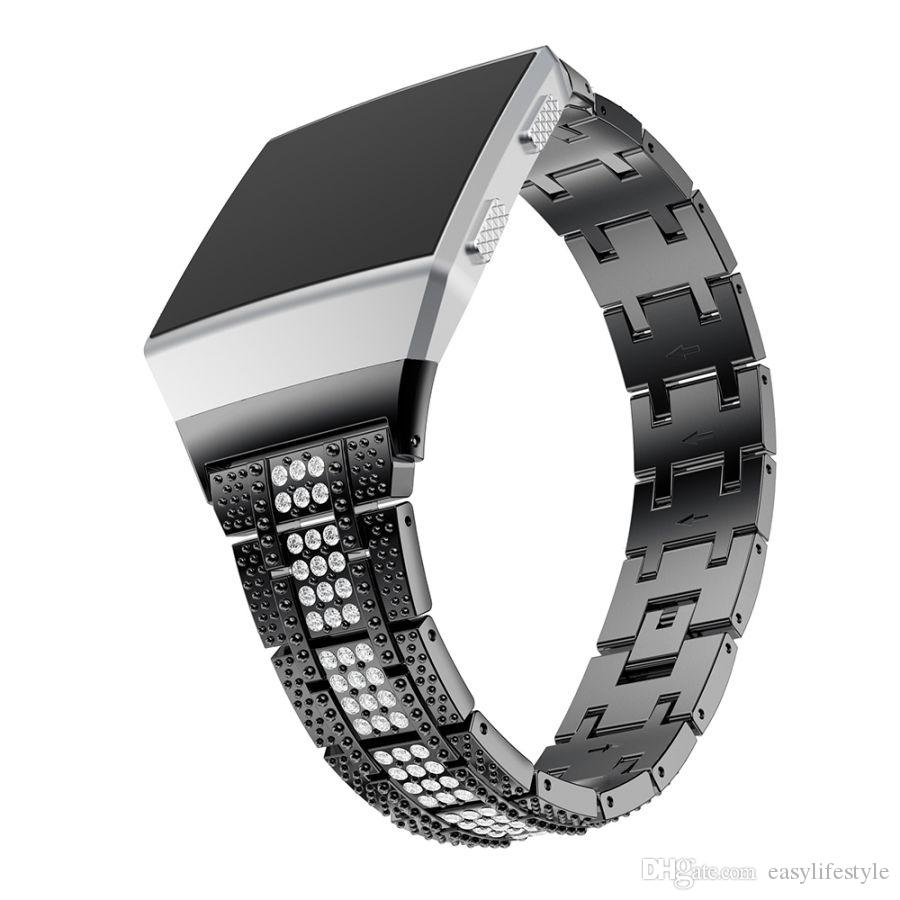 premium quality Bling rhinestone diamond jewelry Stainless steel Replacement Band stap bracelet wristband for fitbit ionic