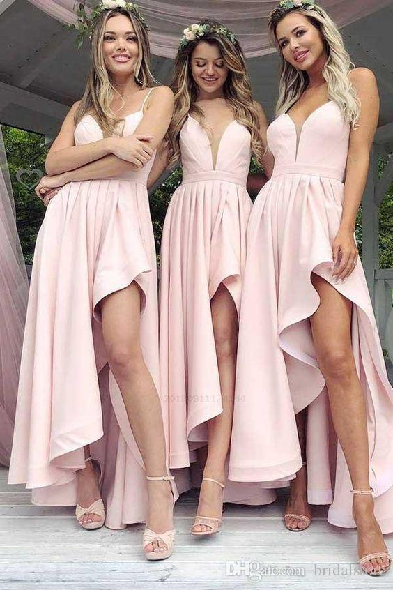 Summer Country Blush Pink High Low Bridesmaid Dresses Sexy Spaghetti Straps Ankle Length Short Junior maid of honor dresses Cheap Prom Dress