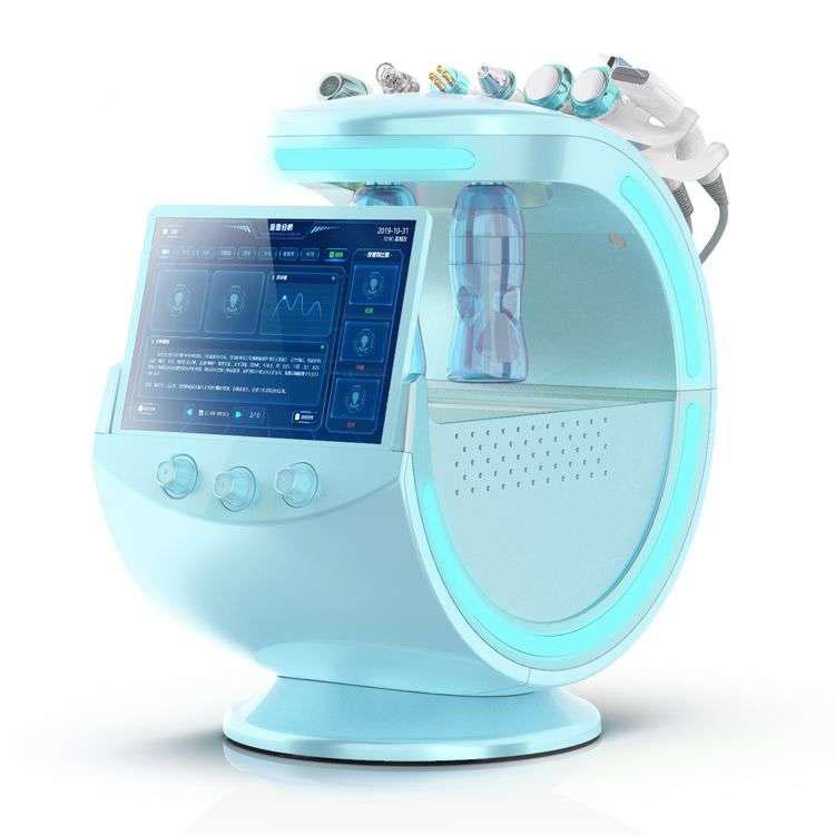 La alta calidad de los azules claros ultrasónica RF de Aqua piel Scrubber anti-arrugas HydraOxygen dermoabrasión facial con analysizer la piel de la máquina de limpieza