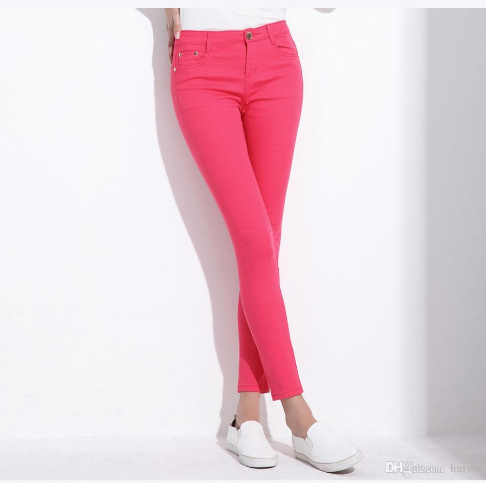 Women's Candy Pants Pencil Trousers 2017 Spring Fall Khaki Stretch Pants For Women Slim Ladies Jean Trousers Female