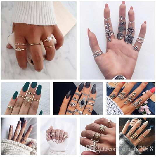 10 styles Bohemia Antique Gold Silver Arrow Leaf Carved Rings Sets Rhinestone Knuckle Rings for Women Jewelry ALXY02