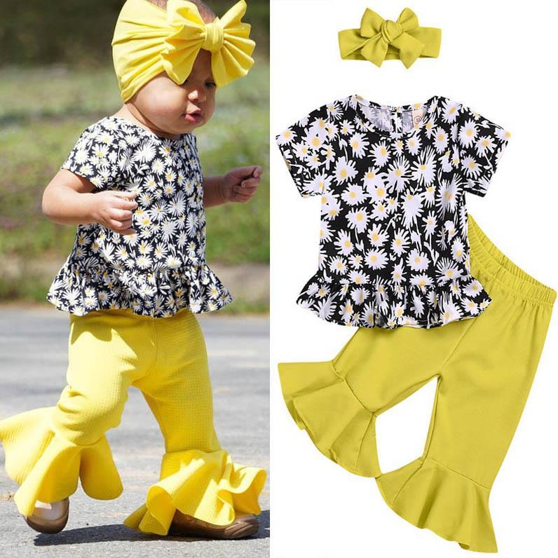 Ins 2020 été FILLES floral costumes doux à manches courtes tenues filles princesse T-shirt + pantalon évasé + serre-tête 3pcs / set B322